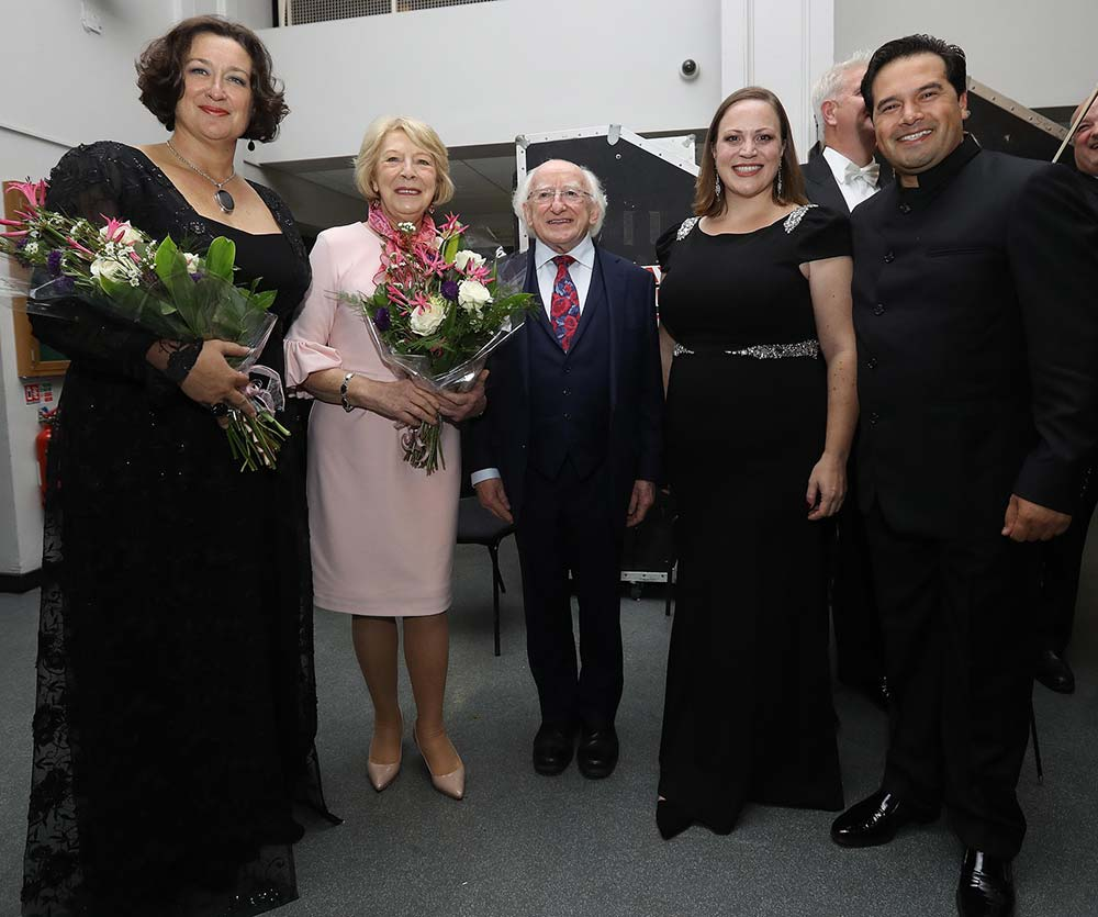 Orla Boylan backstage with President Michael D. Higgins, Sabina Higgins, Jennifer Johnston and conductor Robert Trevino